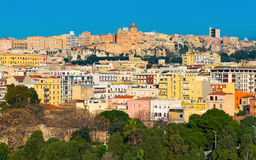 Cityscape with varicolored houses of historic center the city of Cagliari, Sardinia, Italy Royalty Free Stock Photos