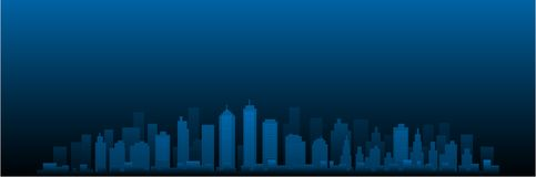 CItyscape vector city skyline at night Royalty Free Illustration