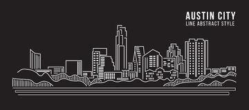 Cityscape Vector de Illustratieontwerp van de Rooilijnkunst - Austin-stad Royalty-vrije Stock Afbeeldingen