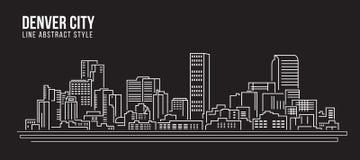 Cityscape Vector de Illustratieontwerp van de Rooilijnkunst - de stad van Denver Stock Foto