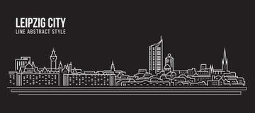 Cityscape Vector de Illustratieontwerp van de Rooilijnkunst - de stad van Leipzig royalty-vrije illustratie