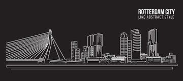 Cityscape Vector de Illustratieontwerp van de Rooilijnkunst - de Stad van Rotterdam stock illustratie
