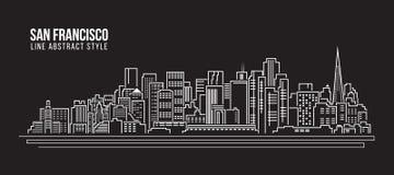 Cityscape Vector de Illustratieontwerp van de Rooilijnkunst - de stad van San Francisco Stock Fotografie