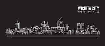 Cityscape Vector de Illustratieontwerp van de Rooilijnkunst - de stad van Wichita Royalty-vrije Stock Foto