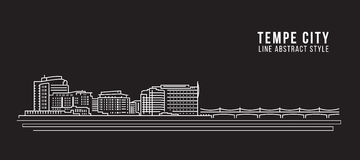 Cityscape Vector de Illustratieontwerp van de Rooilijnkunst - Tempe-stad Stock Foto's
