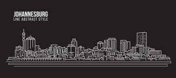 Cityscape Vector de Illustratieontwerp van de Rooilijnkunst - de horizon van Johannesburg vector illustratie