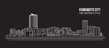 Cityscape Vector de Illustratieontwerp van de Rooilijnkunst - Kumamoto-stad Stock Afbeeldingen