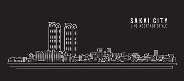 Cityscape Vector de Illustratieontwerp van de Rooilijnkunst - Sakai-stad Royalty-vrije Stock Foto's
