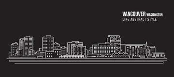 Cityscape Vector de Illustratieontwerp van de Rooilijnkunst - de stad Washington van Vancouver Royalty-vrije Stock Afbeeldingen