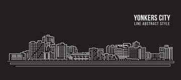 Cityscape Vector de Illustratieontwerp van de Rooilijnkunst - yonkersstad Royalty-vrije Stock Afbeeldingen