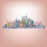 02 Cityscape. Vector illustration of abstract city in lines Stock Images