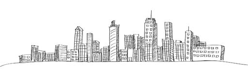 Cityscape Vector Illustration Line Sketched Up. Royalty Free Stock Images