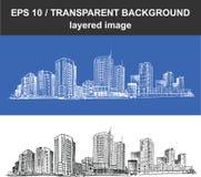 Cityscape Vector omhoog Geschetste Illustratielijn stock foto's