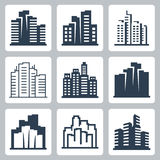 Cityscape vectorpictogrammen Stock Foto's