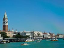Panorama of Venice in Italy with a rainbow royalty free stock photo