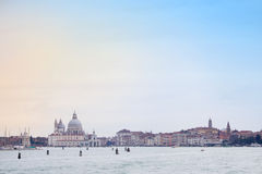 Cityscape of Venice. A panoramic view of the coast with the Santa Maria della Salute church in Venice,Italy stock photography