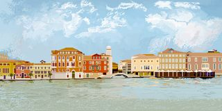 Cityscape of Venice. Pixel graphics. royalty free illustration