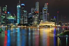 Cityscape with very colourful light reflection Royalty Free Stock Photo