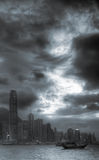 Cityscape of Victoria harbor stock images