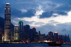 Cityscape of Victoria harbor with boat Royalty Free Stock Photography