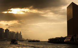 Cityscape of Victoria harbor in Hong Kong Stock Photos