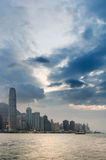 Cityscape of Victoria harbor with white cloud Stock Photo