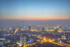 Cityscape in Vietnam. Bird`s eye view in evening time in Hanoi, Vietnam stock photos