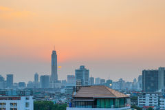Cityscape view of Bangkok at sunset. Royalty Free Stock Image