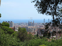 Cityscape view of Barcelona from Park Guell in a summer day, Spa Royalty Free Stock Photo