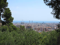Cityscape view of Barcelona from Park Guell in a summer day, Spa Royalty Free Stock Image
