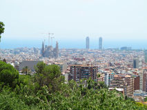 Cityscape view of Barcelona from Park Guell in a summer day, Spa Stock Photo