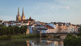 Bayonne, France cityscape view with Cathedral and Nive river stock photo