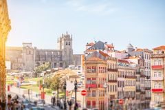 Porto city in Portugal. Cityscape view with beautiful old buildings and Se cathedral in Porto city. Image with tilt-shift blurred technic Stock Photography