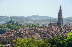 Cityscape view with Bern Cathedral, Switzerland Royalty Free Stock Photography