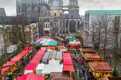 Cityscape - view of the Christmas Market on background the Aachen Cathedral. North Rhine-Westphalia, Germany stock photo