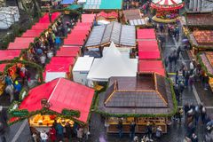 Cityscape - view of the Christmas Market on background the Aachen Cathedral. North Rhine-Westphalia, Germany royalty free stock photography