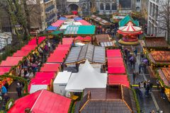 Cityscape - view of the Christmas Market on background the Aachen Cathedral. North Rhine-Westphalia, Germany royalty free stock photo