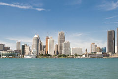 Cityscape View of Detroit Michigan. Detroit is the largest city in the midwestern state of Michigan.  Its nickname is `Motor City.This is a riverside view of the Royalty Free Stock Photography
