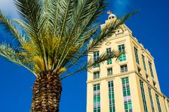 Downtown Coral Gables. Cityscape view of downtown Coral Gables with palm trees and classic architecture royalty free stock photo