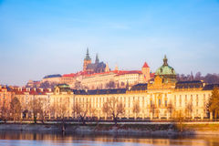 Cityscape view of famouse Prague castle at colorful sunrise stock image