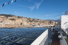 Cityscape view of Genoa from upper deck of cruise liner Stock Photography