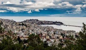 Cityscape view of Kavala city in Greece with beautiful sky stock photography