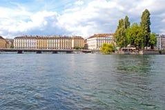Cityscape View of Lake Geneva, Switzerland. LAKE GENEVA, GENEVA/SWITZERLAND - AUGUST 17, 2006: Cityscape view alongside Lake Geneva, the largest lake in western royalty free stock photos