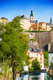 Cityscape view of Luxemburg with Alzette river Royalty Free Stock Photo