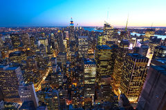 Cityscape view of Manhattan with Empire State Building at night Stock Images