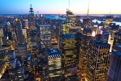 Cityscape view of Manhattan with Empire State Building at night Royalty Free Stock Photography