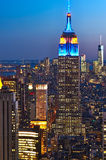 Cityscape view of Manhattan with Empire State Building at night Royalty Free Stock Image