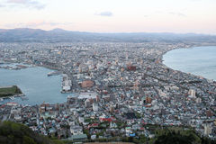 cityscape view from Mt. Hakodate at evening, Hokkaido, Japan Royalty Free Stock Images