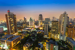 The cityscape view in the night at Sukumvit road,Thailand Stock Image
