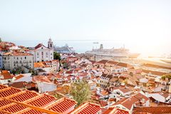 Lisbon city in Portugal. Cityscape view on the old town in Alfama district during the sunny day in Lisbon city, Portugal stock photos